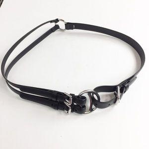 Ralph Lauren Black 3 Strand Equestrian Belt Sz  L